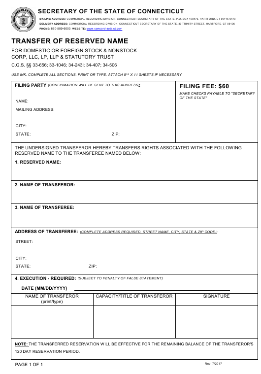 """""""Transfer of Reserved Name - for Domestic or Foreign Stock & Nonstock Corp, LLC, Lp, LLP & Statutory Trust"""" - Connecticut Download Pdf"""