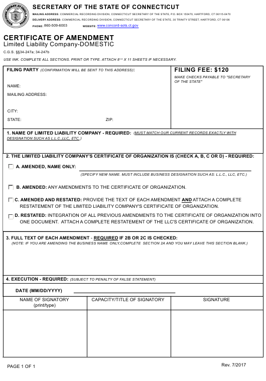 """Certificate of Amendment - Limited Liability Company-Domestic"" - Connecticut Download Pdf"