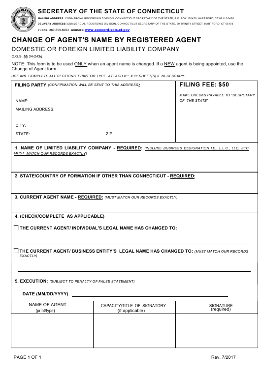 """Change of Agent's Name by Registered Agent - Domestic or Foreign Limited Liability Company"" - Connecticut Download Pdf"