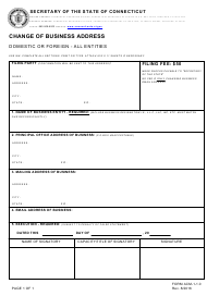 "Form ACM-1-1.0 ""Change of Business Address - Domestic or Foreign - All Entities"" - Connecticut"
