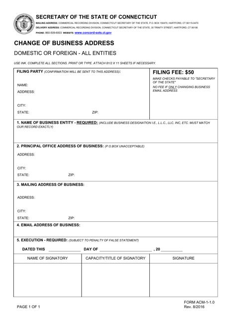 Form ACM-1-1.0  Printable Pdf