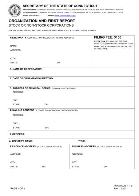Form COS-1-1.0 Printable Pdf