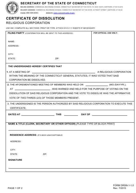 Form DRSN-1-1.0  Printable Pdf
