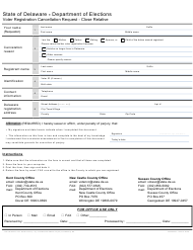 Form VRFM 003 Voter Registration Cancellation Request - Close Relative - Delaware