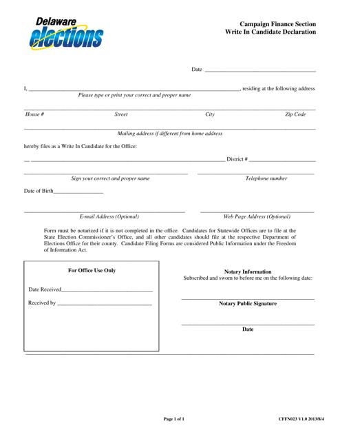 Form CFFN023  Printable Pdf