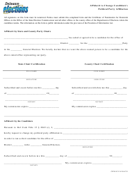 "Form CFFN019 ""Affidavit to Change Candidate's Political Party Affiliation"" - Delaware"