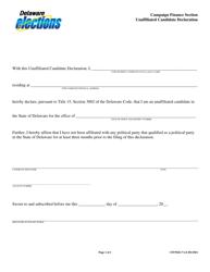 "Form CFFN022 ""Unaffiliated Candidate Declaration"" - Delaware"