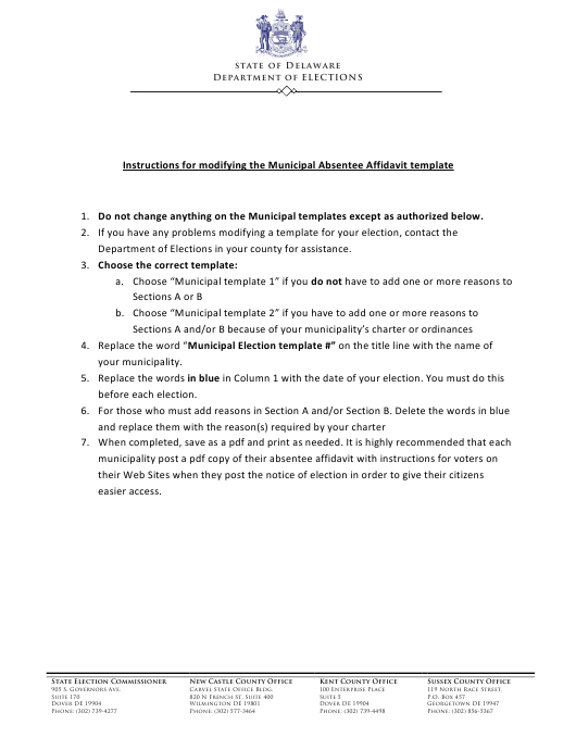"Instructions for ""Modifying the Municipal Absentee Affidavit Template"" - Delaware Download Pdf"
