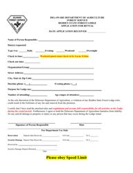 Application for Rental at Redden State Forest Lodge - Delaware