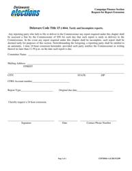 "Form CFFM044 ""Request for Report Extension"" - Delaware"