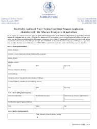 """Food Safety Audit and Water Testing Cost-Share Program Application Form"" - Delaware"