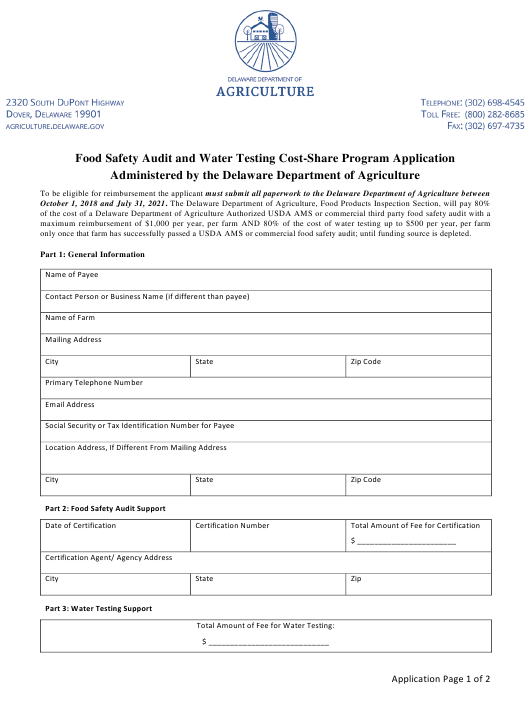 """Food Safety Audit and Water Testing Cost-Share Program Application Form"" - Delaware Download Pdf"