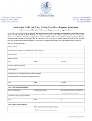 Food Safety Audit and Water Testing Cost-Share Program Application Form - Delaware