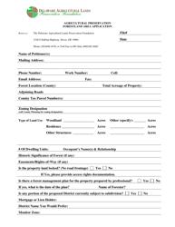 """""""Agricultural Preservation Forestland Area Application Form"""" - Delaware"""