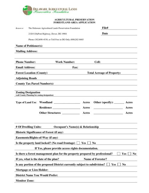 """""""Agricultural Preservation Forestland Area Application Form"""" - Delaware Download Pdf"""