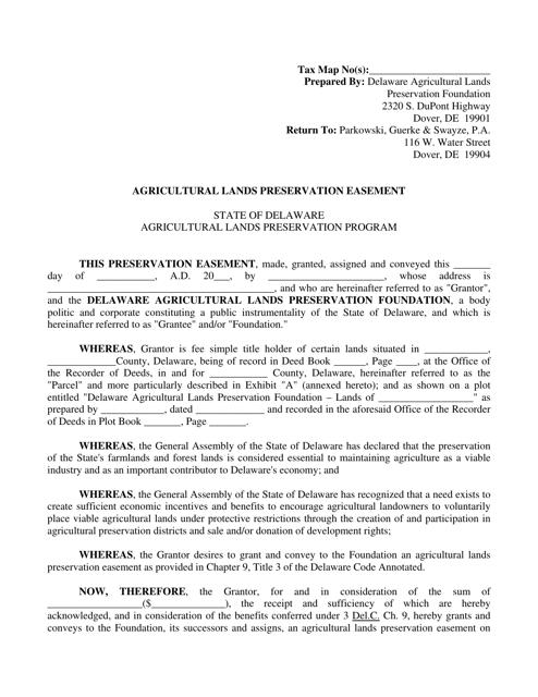 """Sample """"Agricultural Lands Preservation Easement Agreement"""" - Delaware Download Pdf"""