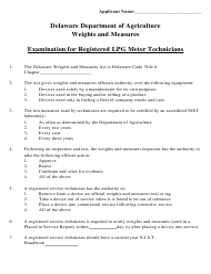 """Examination for Registered Lpg Meter Technicians"" - Delaware"