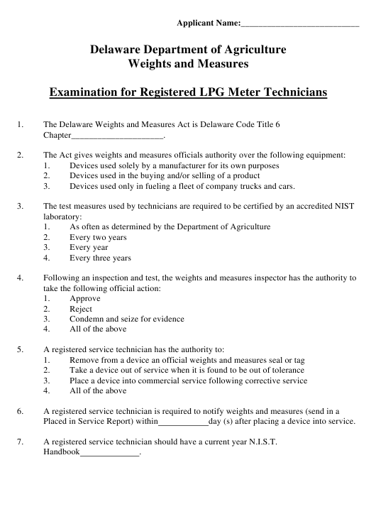 """Examination for Registered Lpg Meter Technicians"" - Delaware Download Pdf"