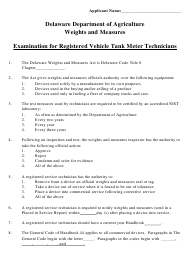 """Examination for Registered Vehicle Tank Meter Technicians"" - Delaware"