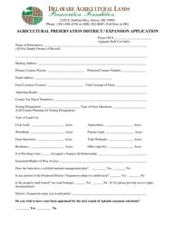 """""""Agricultural Preservation District / Expansion Application Form"""" - Delaware"""