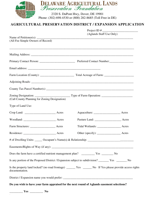 """Agricultural Preservation District / Expansion Application Form"" - Delaware Download Pdf"