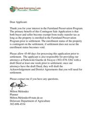 """""""Agricultural Preservation District / Expansion Application Form - Contingent Sale"""" - Delaware"""