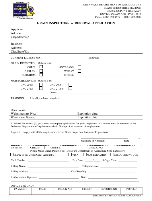 """Grain Inspectors - Renewal Application Form"" - Delaware Download Pdf"
