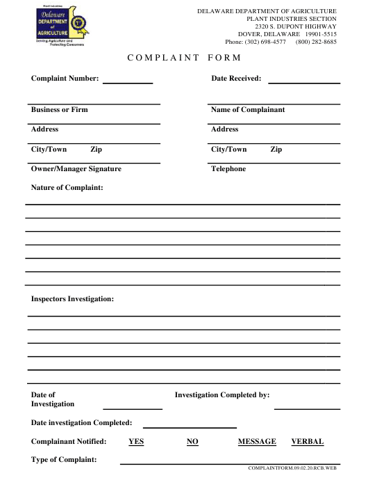 """Complaint Form"" - Delaware Download Pdf"