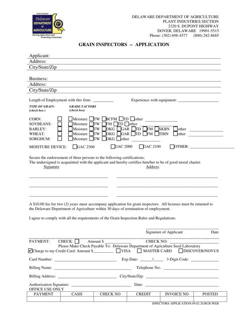 """""""Grain Inspectors - Application Form"""" - Delaware Download Pdf"""