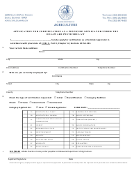 """Application for Certification as a Pesticide Applicator Under the Delaware Pesticide Law"" - Delaware"