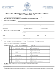 Application for Certification as a Pesticide Applicator Under the Delaware Pesticide Law - Delaware