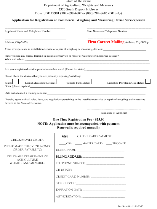 """Application for Registration of Commercial Weighing and Measuring Device Serviceperson"" - Delaware Download Pdf"