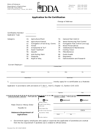 """Application for Re-certification"" - Delaware"