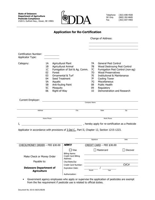 """Application for Re-certification"" - Delaware Download Pdf"