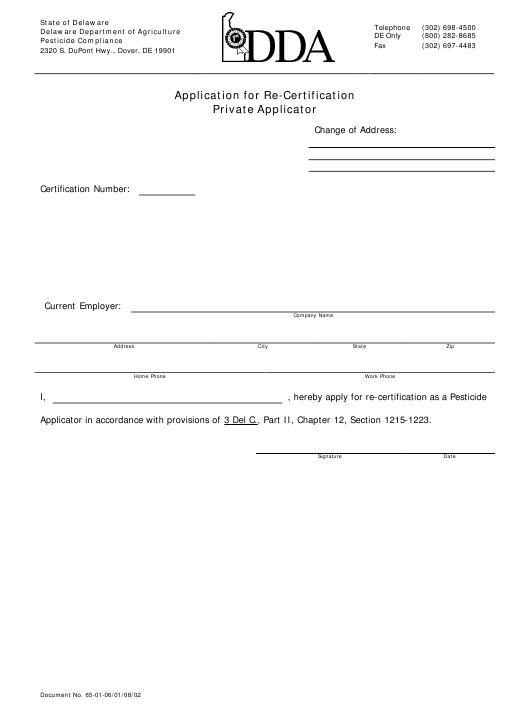 """Application for Re-certification - Private Applicator"" - Delaware Download Pdf"
