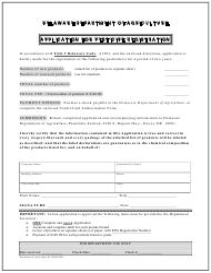 """""""Application for Pesticide Registration"""" - Delaware"""