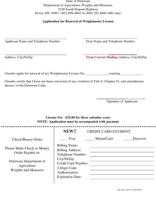 """Application for Renewal of Weighmaster License"" - Delaware Download Pdf"