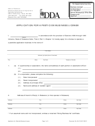 """Application for a Pesticide Business License"" - Delaware"