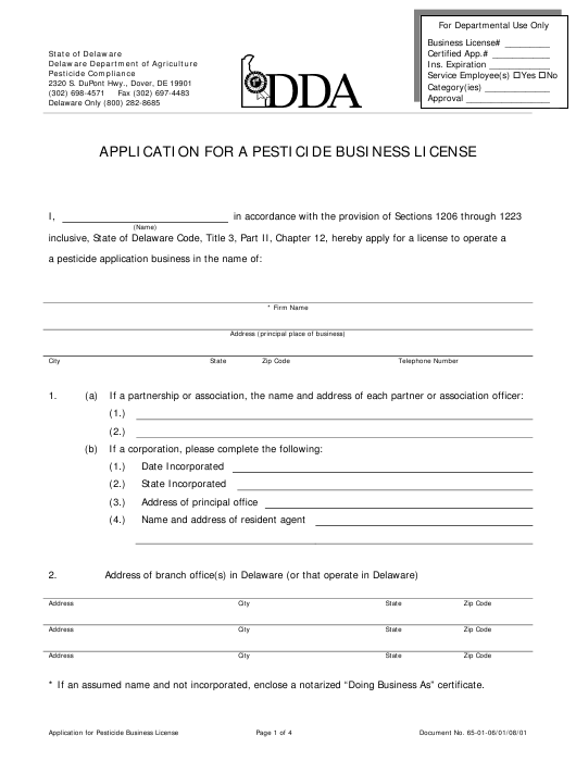 """Application for a Pesticide Business License"" - Delaware Download Pdf"
