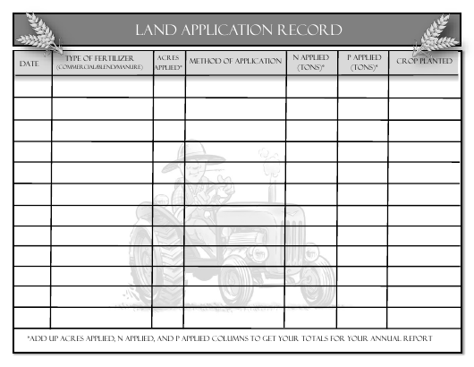 """Land Application Record Form"" - Delaware Download Pdf"