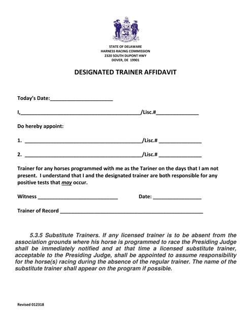 """""""Designated Trainer Affidavit Form"""" - Delaware Download Pdf"""
