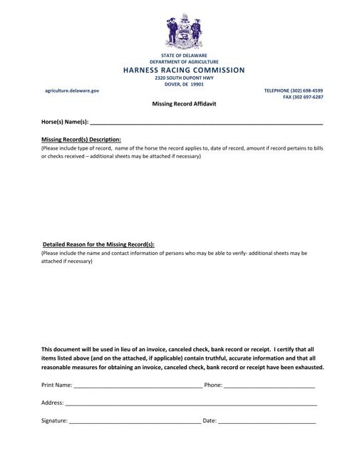 """""""Missing Record Affidavit Form"""" - Delaware Download Pdf"""