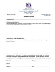 Missing Record Affidavit Form - Delaware
