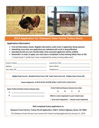 2019 Application for Delaware State Forest Turkey Hunts - Delaware
