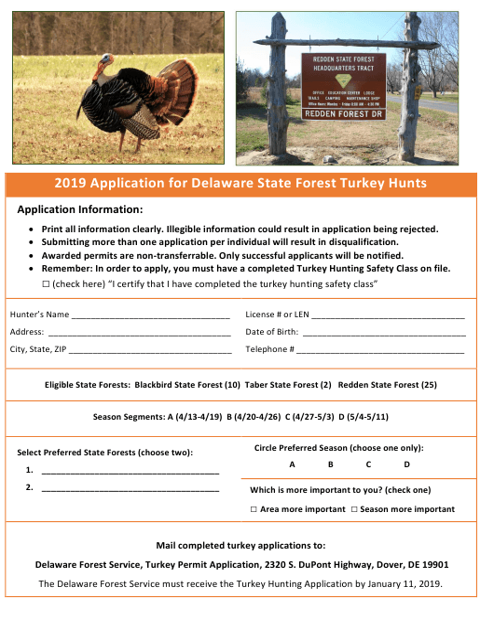 2019 Application for Delaware State Forest Turkey Hunts - Delaware Download Pdf