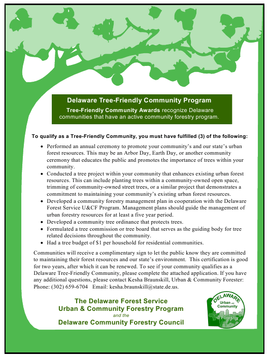 """Delaware Tree-Friendly Community Award Application Form"" - Delaware Download Pdf"