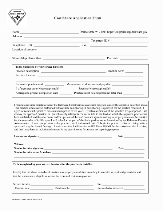 """Cost Share Application Form"" - Delaware Download Pdf"