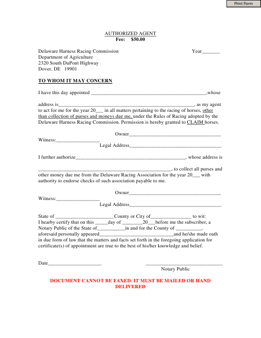 """Authorized Agent Form"" - Delaware Download Pdf"