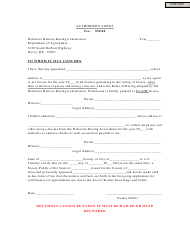 Authorized Agent Form - Delaware