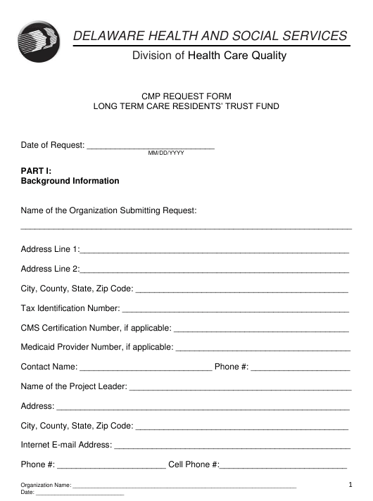 """Cmp Request Form - Long Term Care Residents' Trust Fund"" - Delaware Download Pdf"